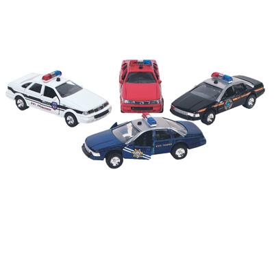 Samochodziki policyjne z sygnałem świetlnym i dźwiękowym