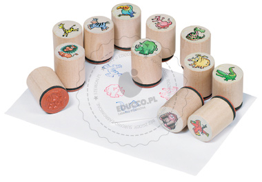 Stempelki ze zwierzątkami - zabawki drewniane
