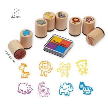 Stempelki ze zwierzątkami + zestaw tuszy