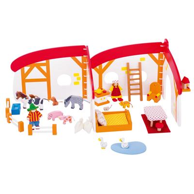 Domek dla lalek z farmą - zabawki drewniane