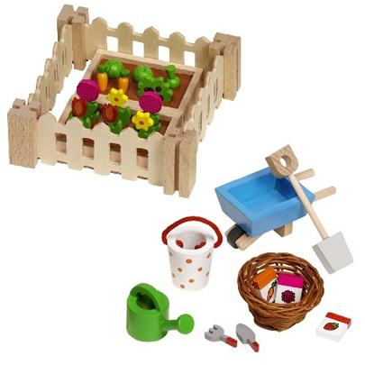 Ogródek dla lalek - akcesoria drewniane
