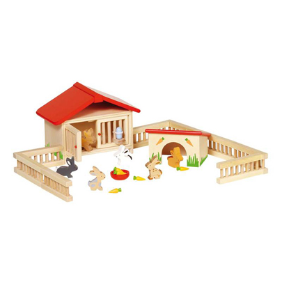 Zagroda dla króliczków - zabawki drewniane