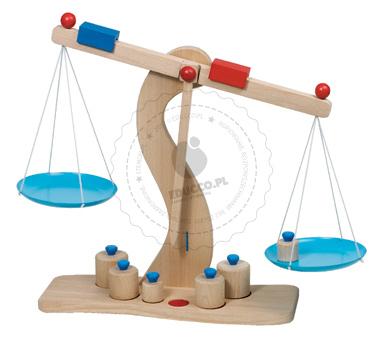 Drewniana waga z odważnikami - zabawki drewniane
