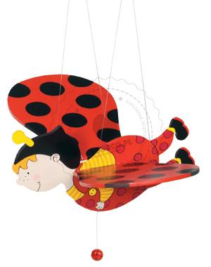 Zawieszka nad łóżeczko - Biedronka - zabawki drewniane