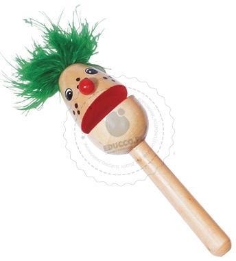 Clap Clap Clapper- kołatka klown z zielonymi włosami - zabawki drewniane