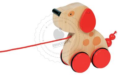 Piesek z kolorowymi uszami - zabawki do ciągania - zabawki drewniane