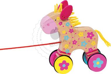 Kolorowy konik  - zabawki do ciągania - zabawki drewniane