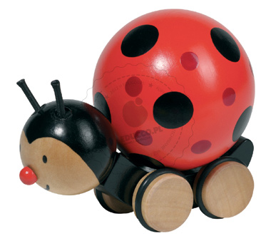 Biedronka z poruszającym się grzbietem - zabawki drewniane