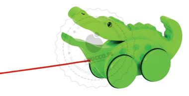 Krokodyl ruszający paszczą - zabawki do ciągania - zabawki drewniane