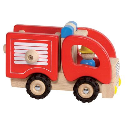 Drewniany wóz straży pożarnej - zabawki drewniane