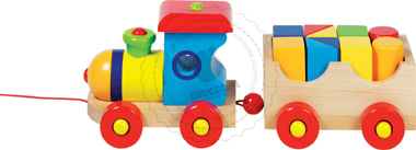 Pociąg z klockami - zabawki drewniane