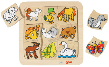 Puzzle, znajdź pasujące elementy - zabawka drewniana