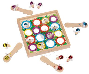 Gra drewniana - Pszczółki skoczki - zabawka dla dzieci