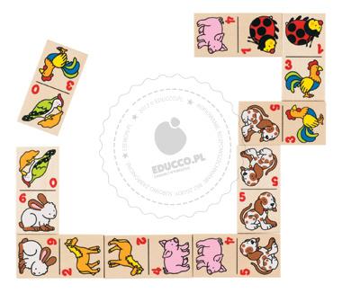 Domino ze zwierzątkami - zabawki drewniane