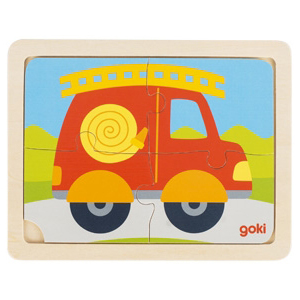 Puzzle drewniane 4-elementowe - Samochód strażacki