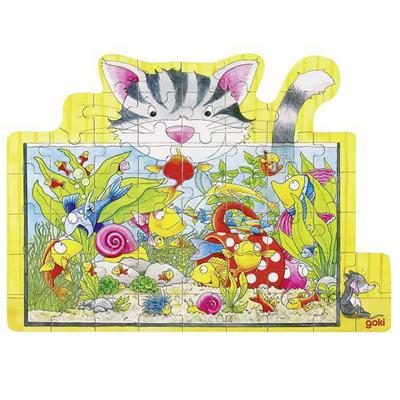 Puzzle drewniane - Puzzle kotek i akwarium