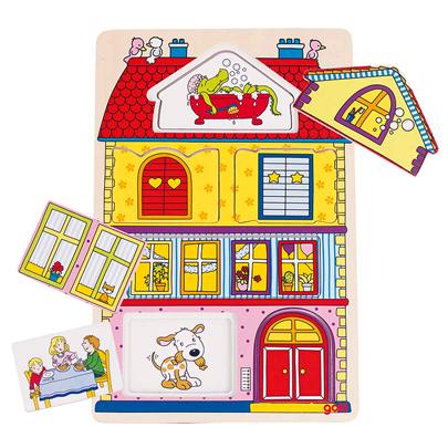 Puzzle drewniane - Domek i ukryte obiekty