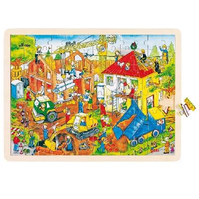 Puzzle drewniane - Plac budowy - zabawki edukacyjne