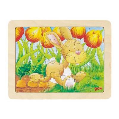 Baśniowe zwierzątka - biegnący króliczek - puzzle - zabawki drewniane