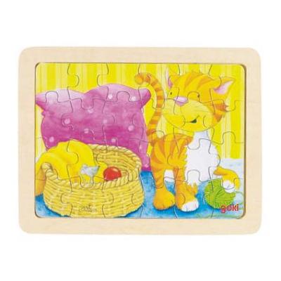 Baśniowe zwierzątka - kotek i myszka - puzzle - zabawki drewniane
