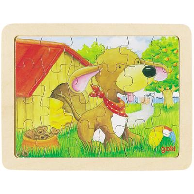 Baśniowe zwierzątka - wesoły piesek - puzzle - zabawki drewniane