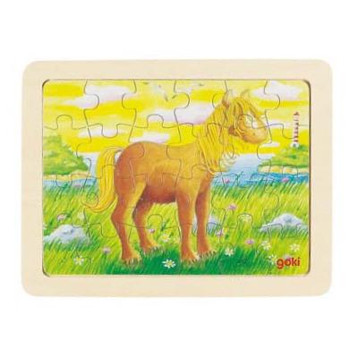 Baśniowe zwierzątka - konik na nadmorskiej łące - puzzle - zabawki drewniane