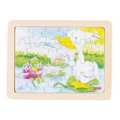 Baśniowe zwierzątka - kaczuszka i żabka - puzzle - zabawki drewniane