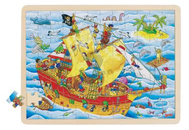Puzzle - Statek piracki - zabawki drewniane