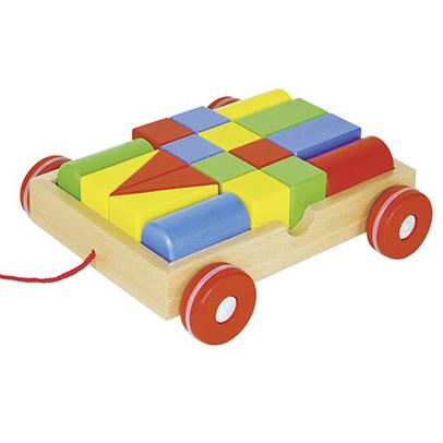 Drewniany wózek z klockami - zabawka dla dzieci