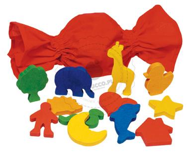 Rozpoznawanie kształtów - zabawki drewniane