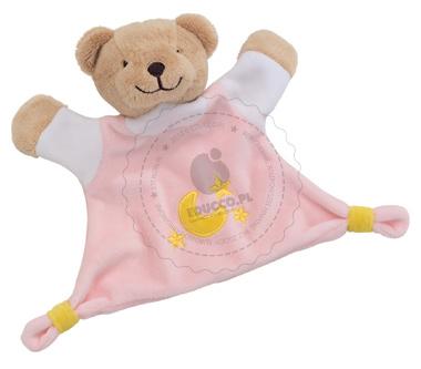 Welurowa przytulanka - różowy niedźwiadek - zabawki dla niemowląt