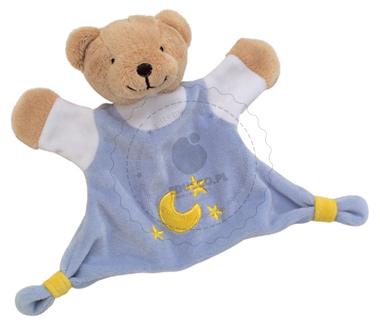 Welurowa przytulanka - błękitny niedźwiadek - zabawki dla niemowląt