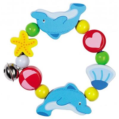 Bransoletka - delfinek z dzwoneczkiem - zabawki drewniane