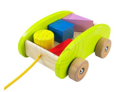 HAPE Wózek do ciągnięcia z klockami - zabawki drewniane