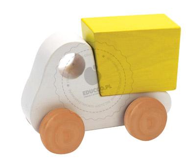 Drewniana miniciężarówka biała - zabawki drewniane