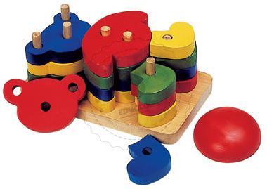 Układanka Miś - nauka kształtów - zabawki drewniane