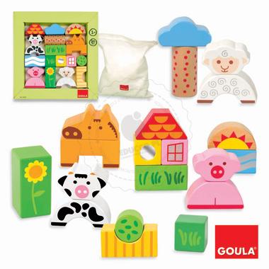 Drewniane klocki Farma - zabawki edukacyjne
