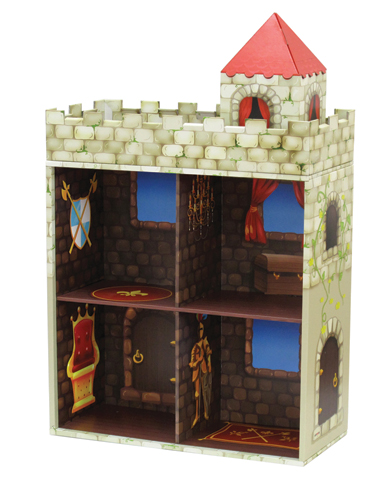 Zamek-półka na książki wykonana z wodoodpornego kartonu - domki Krooom