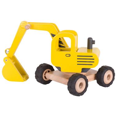 Drewniana żółta koparka GOKI