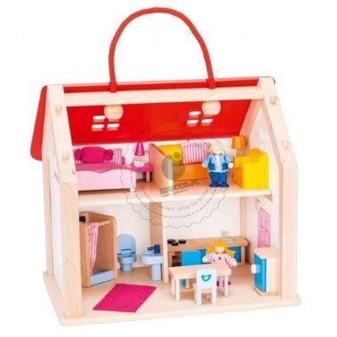 Drewniany domek dla lalek w walizce z akcesoriami